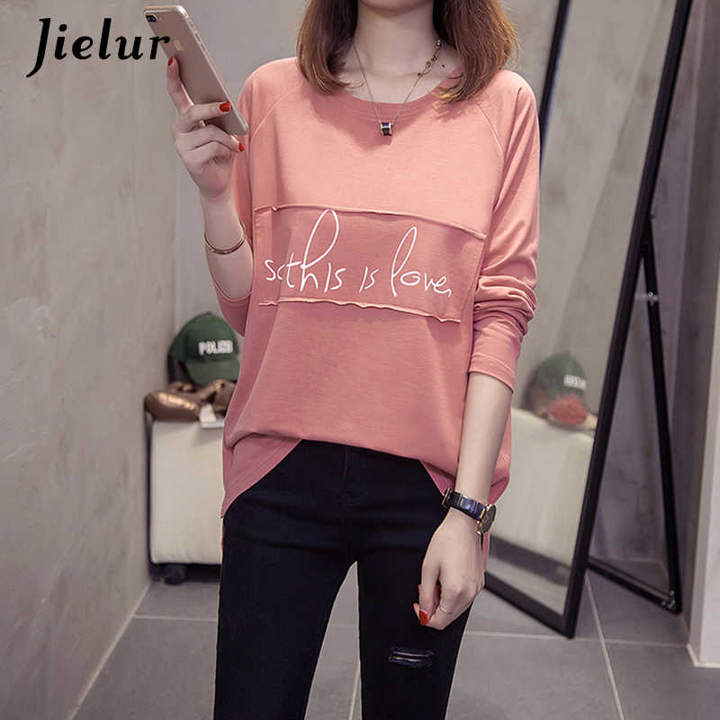 Jielur Letter Printed Korean Female T-shirt Long Sleeve Casual White Fall Women's T Shirts Hipster Harajuku Ladies Tee Tops M-XL