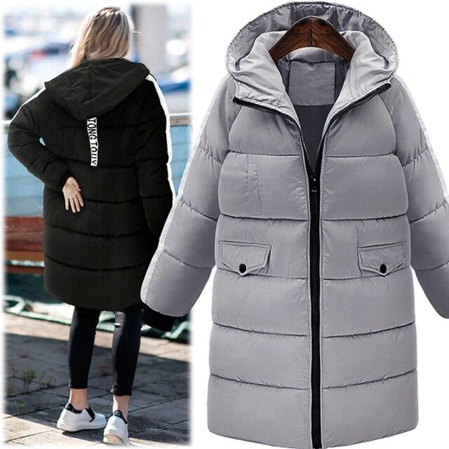 Novo 2016 Moda Inverno Mulheres Jaqueta Grossa Parka Quente Para Baixo Casaco Com Capuz Solto Casual Amassado-Algodão acolchoado Casaco Longo Outerwear