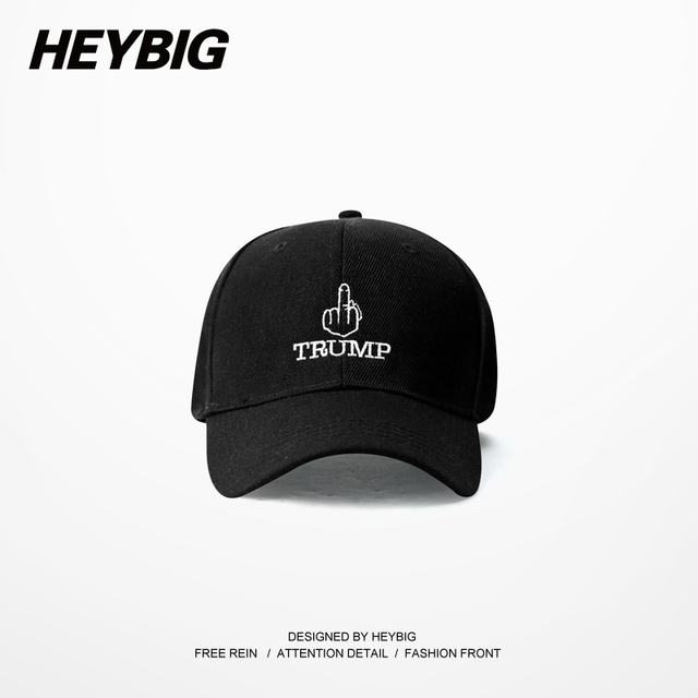 Fuck Gesture TRUMP Embroided Hiphop Dad Cap HEYBIG men Streetwear Curve Brim Hats Snapback 6 panels Baseball Caps Carton Pack