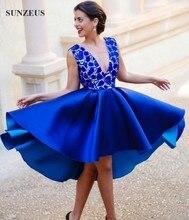 Königsblau Cocktailkleider 2016 Sexy V-ausschnitt Low Back Spitze Party Kleider Kurz Satin Cocktail Kleider Für Mädchen SAU339