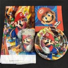 Super Mario theme 16pcs cups+16pcs plates+16pcs napkins+1pcs table for kids favors birthday party Tableset decoration