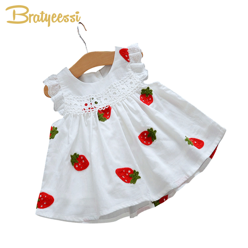 White Baby Dress Strawberry Flowers A Line Baby Girl Dress ...