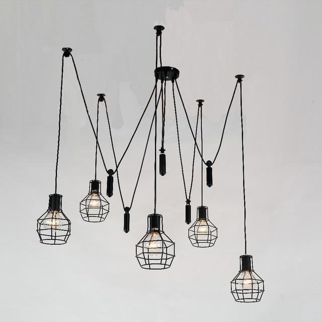 Mordern Art Deco Edison Bulb Light 5 lights Chandelier pendant lamp pulley Adjustable DIY E27 Art Spider for Parlor bar cafe