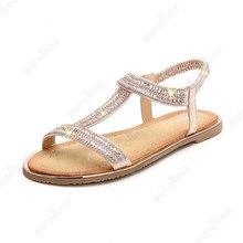 Rhinestone Sandals Fashion Flat Gladiator Shoes Woman Diamond Love Addiction Fetish Fancy Crystal