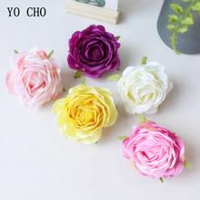 YO CHO 9 cm róże sztuczne kwiaty jedwabne kwiaty piwonia czerwony biały sztuczne główki kwiatowe kwiat ślub dekoracje ścienne do dekoracji wnętrz tanie tanio Jedwabiu fake rose flower Ślub Róża Kwiat Głowy Display Flower Decorative Flowers Wreaths Rose Pink Rose red white yellow purple