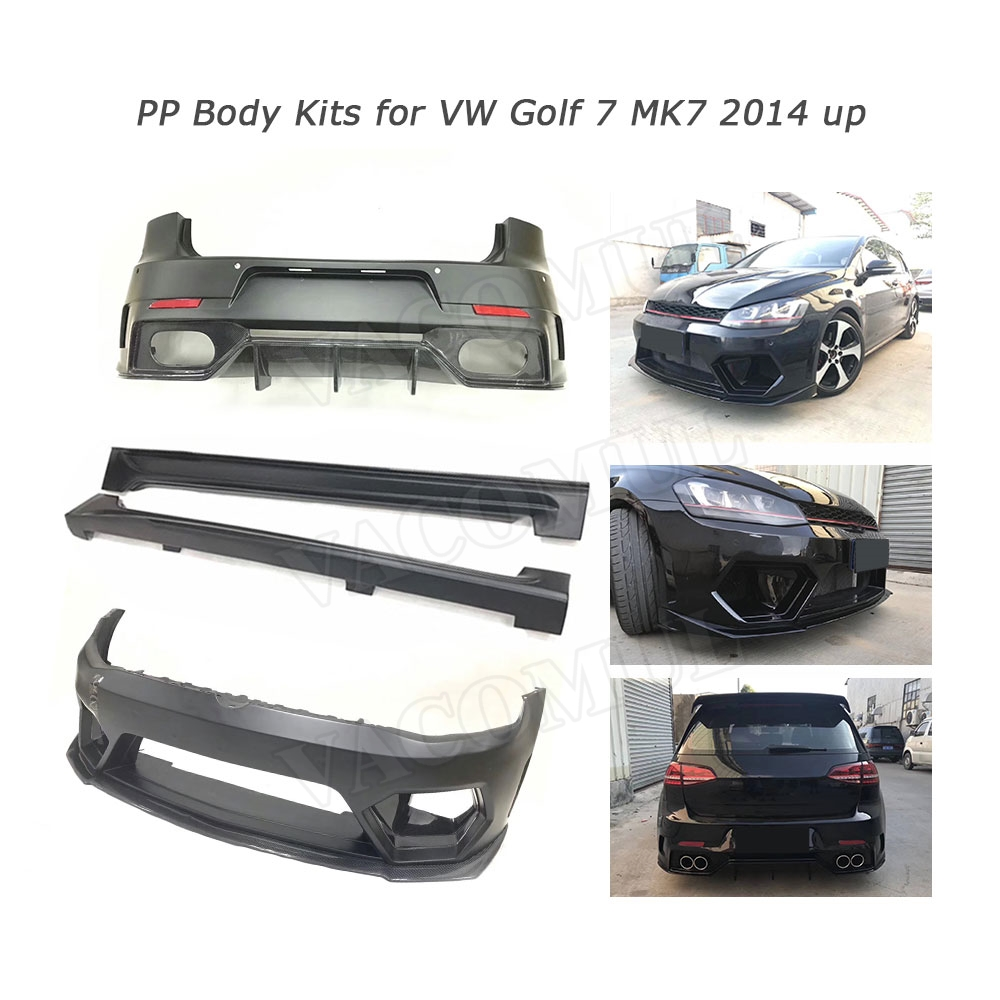 PP carbon fiber Body Kits <font><b>Front</b></font> Rear <font><b>Bumper</b></font> Lip Spiler Diffuser Side Skirts for Volkswagen <font><b>Golf</b></font> <font><b>7</b></font> VII MK <font><b>7</b></font> <font><b>GTI</b></font> R 14-17 A Style image