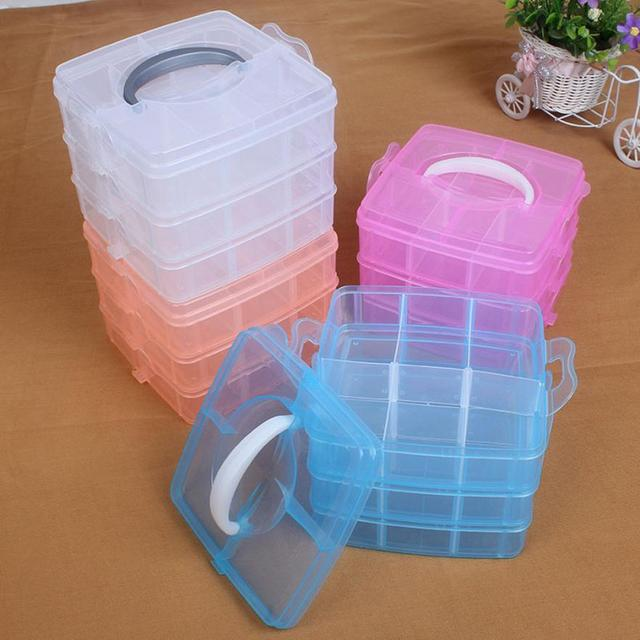 New Clear Plastic Jewelry Bead Storage Box Container Organizer Case