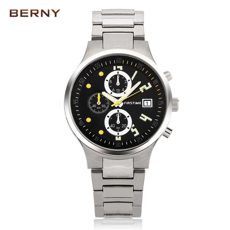 Berny Men Watch Quartz Mens Watches Fashion Top Luxury Brand Relogio Saat Montre Horloge Masculino Erkek Hombre JAPAN MOVEMENT brown leather strap men quartz watch mens watches top brand luxury erkek kol saati horloge montre homme clock megir hodinky b190