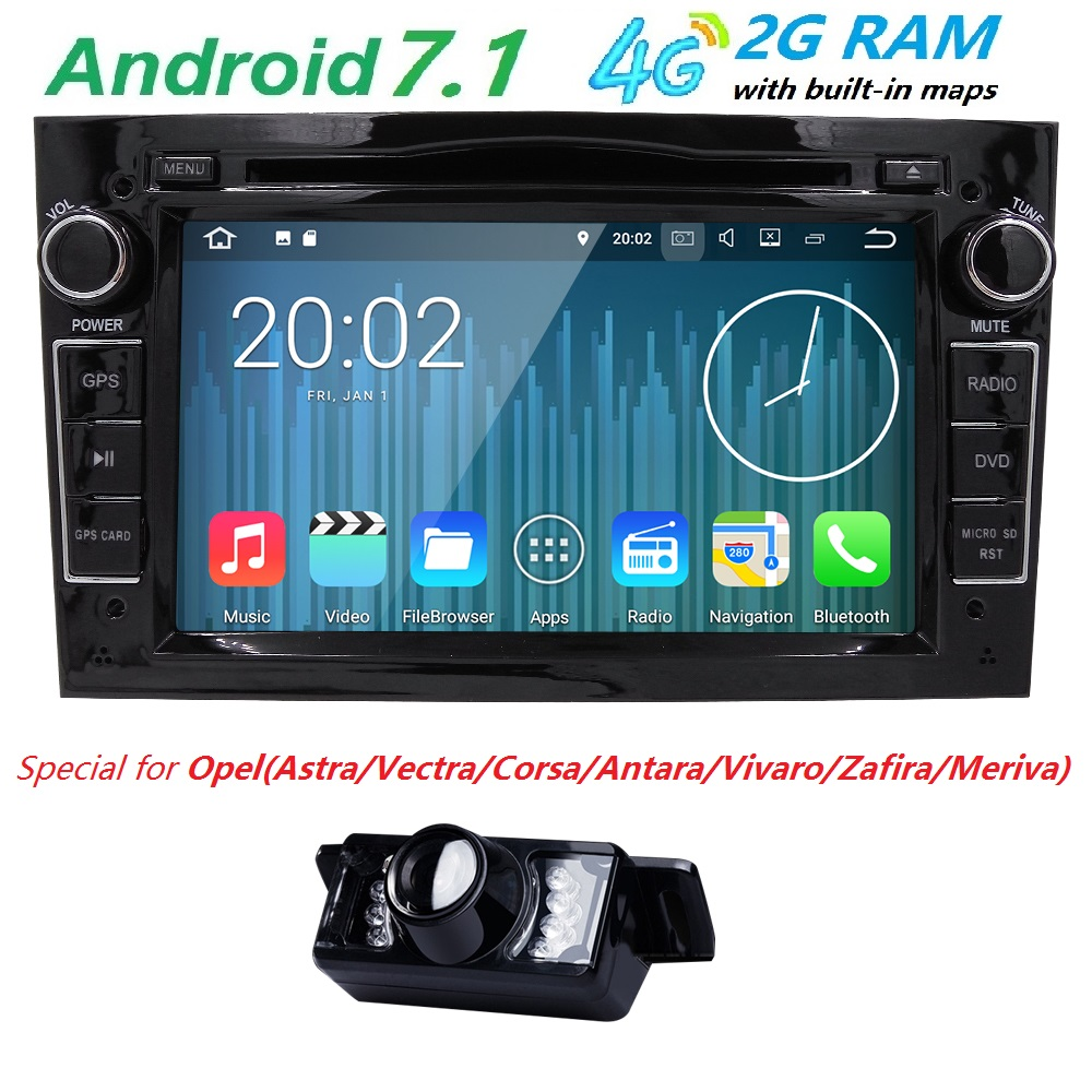 HD 1024x600 QuadCore 4G WIFI RAM 2GB Android 7 1 PC Car DVD Player For Opel