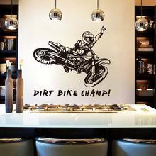 DCTOP Dirt Bike Champ Quote Black Vinyl Mural Sticker For Kids Room Home Bedroom  Decor Adesivo Art Wallpape