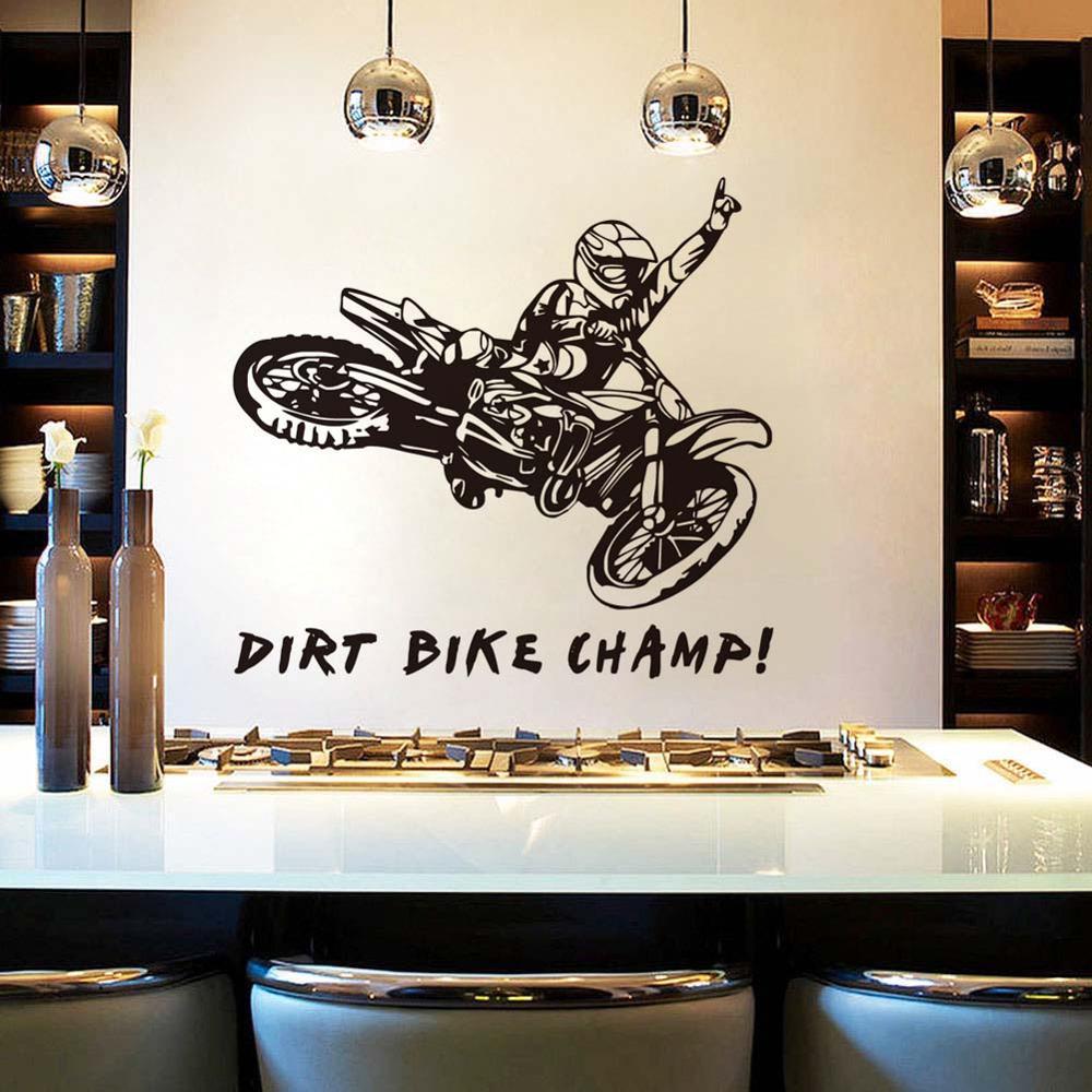 Dctop Dirt Bike Champ Quote Black Vinyl Mural Sticker For Kids Room Home Bedroom Decor Adesivo