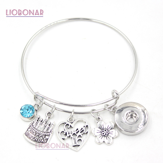 10pcs Whole Snap Jewelry 16th Sweet Six Birthday Charm Bracelet Bangle On Bracelets For Daughter