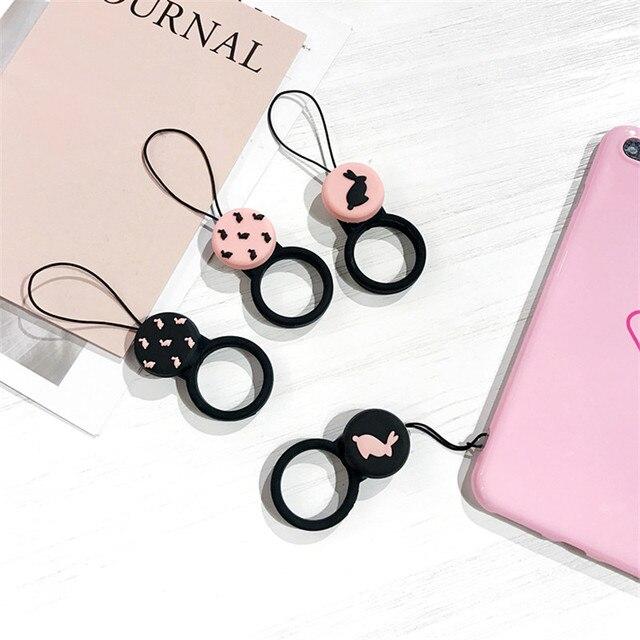 Cinta Do Telefone cordão Coelho Bonito Silicone Straps Cordão Para Chaves Anel Pingente Encanto Do Telefone Móvel Titular Cinta Para iPhone