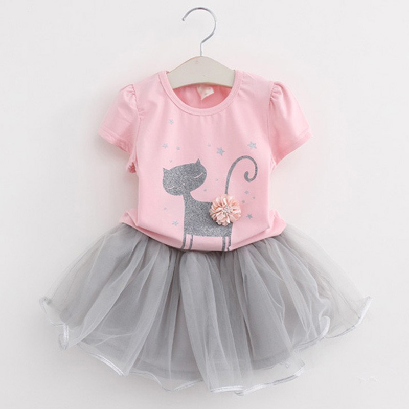 2017 New Summer Girls Clothing Sets Casual Cotton Cute Cat Short Sleeve T-shirt+Skirts Children Kids Girl Clothes 2pcs Set 2-7Y fashion brand autumn children girl clothes toddler girl clothing sets cute cat long sleeve tshirt and overalls kid girl clothes