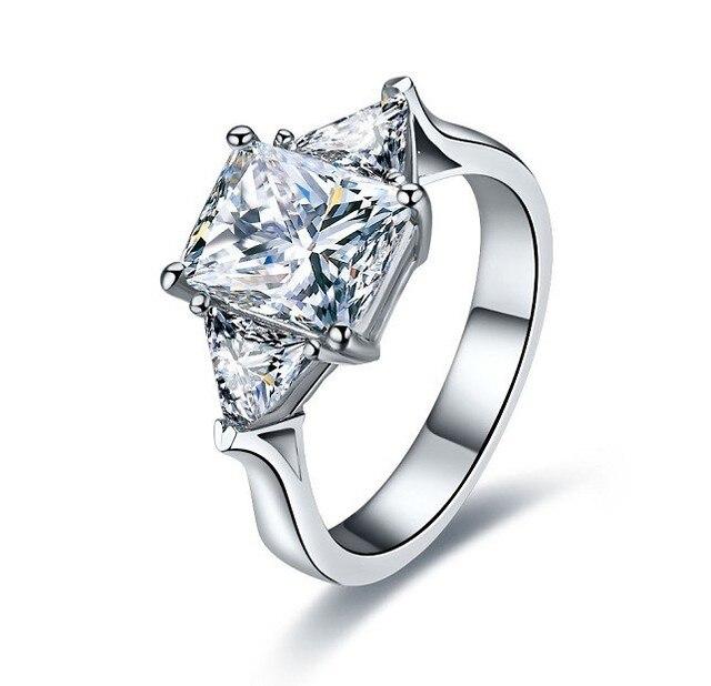 808b64471b450 3CT Três Pedras Real Sólido 18 K Ouro Branco Anel de Diamante Brilhante Anel  de Ouro