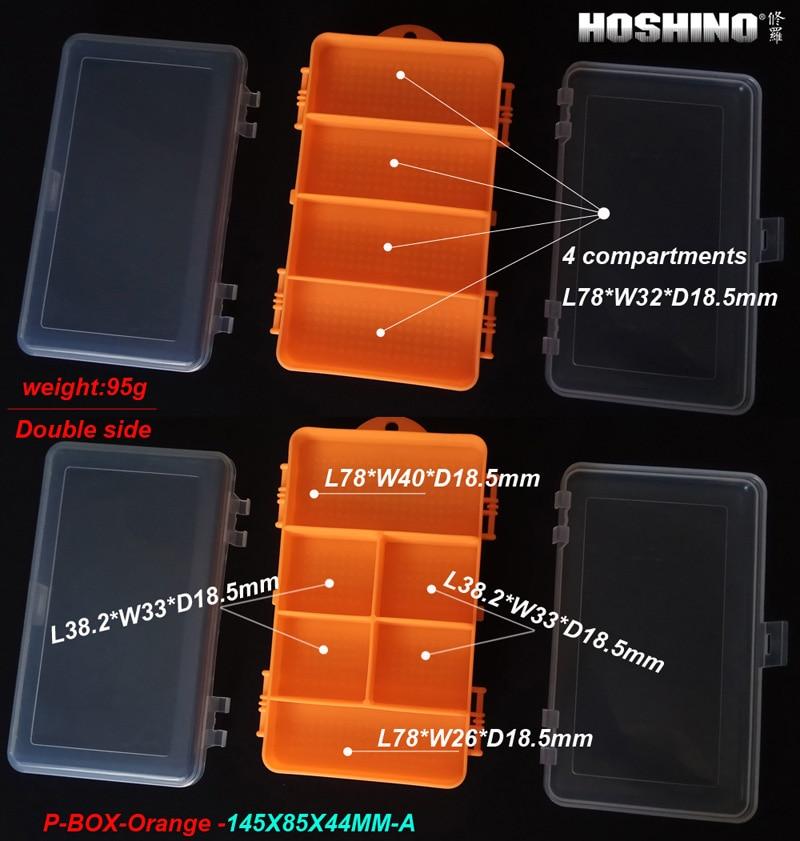 [HOSHINO] 95g,  145X85X44MM,Fishing Tackle  Box Double Side  Plastic Box for baits fishing accessories ,  Orange+Transparent