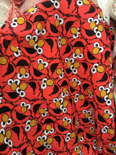 Red Sesame Street Elmo Lycra Knitted Cotton Fabric For Patchwork
