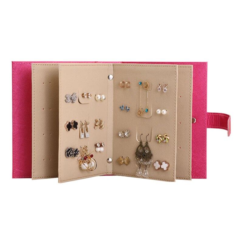 PU En Cuir Maquillage Organisateurs Portable De Mode Femmes Boucles D'oreilles Collection Collier Bijoux Livre Affichage Boîte Organisateur Accessoires