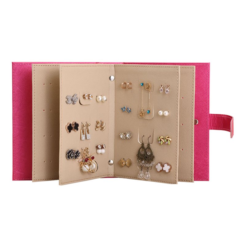 PU Leather Makeup Organizers Portable Fashion Women Earrings Collection Necklace Jewelry Book Display Box Organizer Accessories