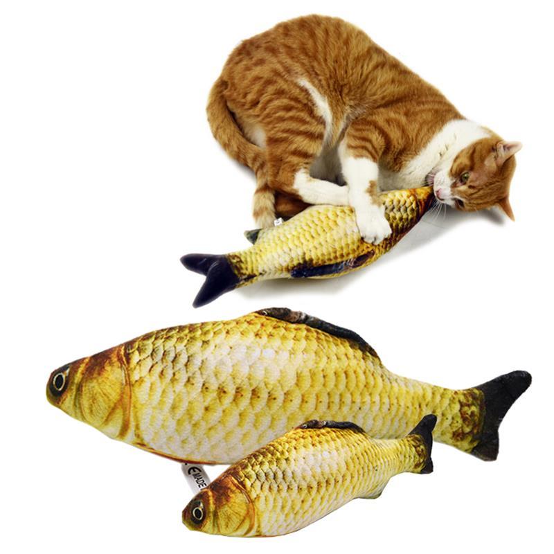 Pet Soft Plush Creative 3D Carp Fish Shape Cat Toy Gifts Catnip Fish Stuffed Pillow Doll Simulation Fish Playing Toy For Pet(China)