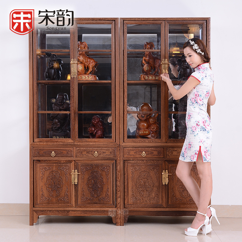 Classic Mahogany Furniture Wooden Glass Display Cabinets Antique Wood Bookcase Chinese Cabinet Cabinet