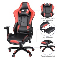 360 Degree Adjustable Office Chair Ergonomic High Back PU Leather Racing Style Reclining Computer Gaming Chair Padded Footrest