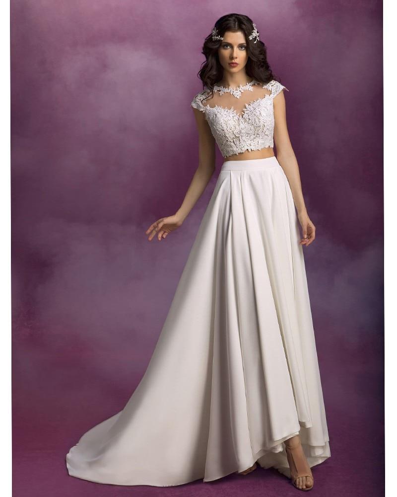 Bridal Gown Long Chiffon Lace Bohemian Sexy Two Piece