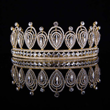 Vintage Wedding Hair Accessories Bridal Tiara For Women High Quality Crystal Queen Crown Noiva  Gold Diadem Hair Jewelry T-039