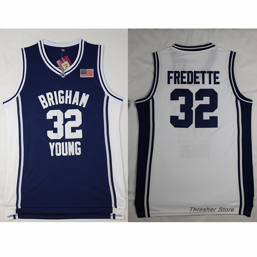 c40980ea107 ... Jimmer Fredette 32 Brigham Young BlueWhite Retro Throwback Stitched  Basketball Jersey Sewn Camisa ...