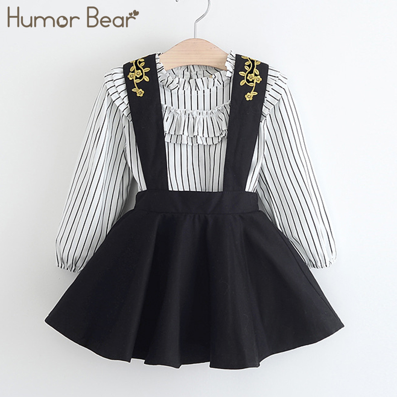 Humor Bear New Spring Baby Girl Clothes Stripe Long Sleeve + Embroidery Straps Princess Dress 2pcs Suit Girls Clothing Set 2 10yrs girls dress kids princess dress long sleeve baby girl cute palace style blue and white floral embroidery spring 2017 new