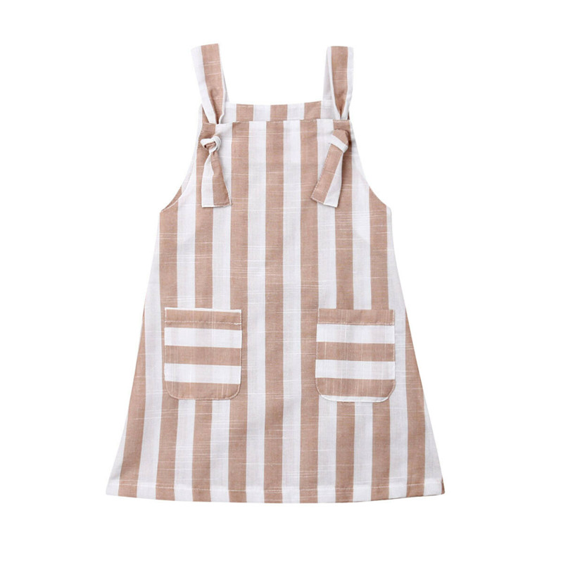 US Toddler Kid Baby Girl Striped Bowknot Clothes Dress Sundress Dress Outfit Set