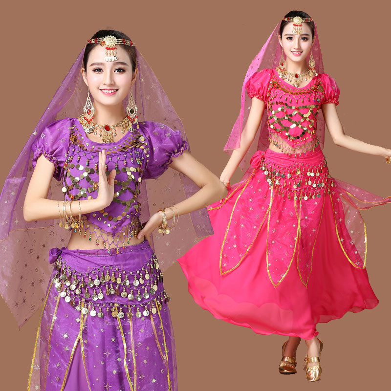 Belly Dance Costumes Short Sleeve Indian Dance Costume Chiffon Belly Dancing Clothing Women Performance Costume 6 Colors DN1412