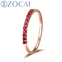 ZOCAI Brand Ruby ring real natural genuine ruby 0.14 CT ring 18K rose gold gift ring W02308