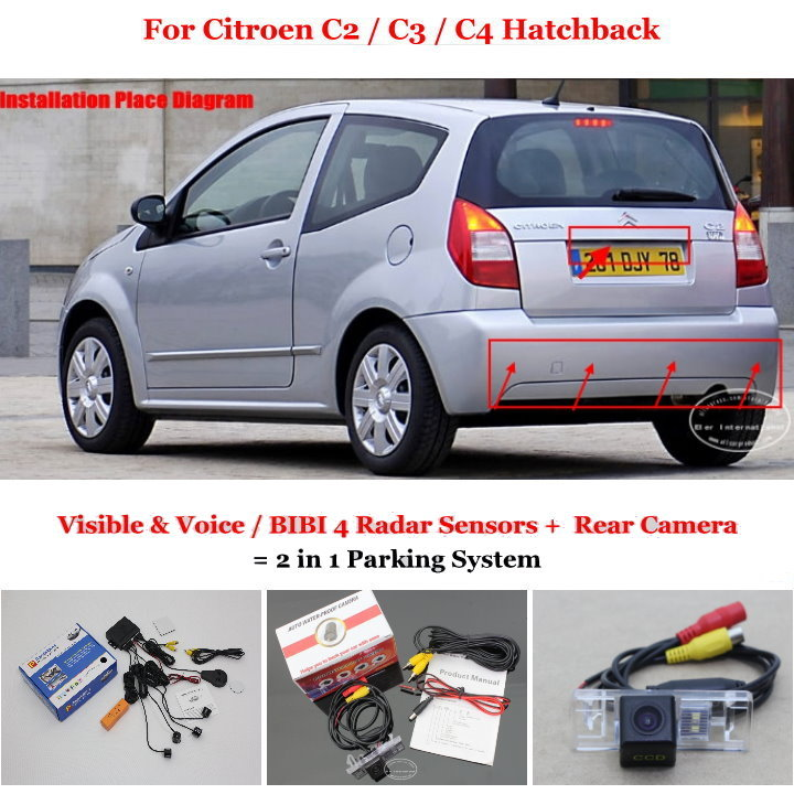 ФОТО For Citroen C2 / C3 / C4 Hatchback - Car Parking Sensors + Rear View Camera = 2 in 1 Visual / BIBI Alarm Parking System