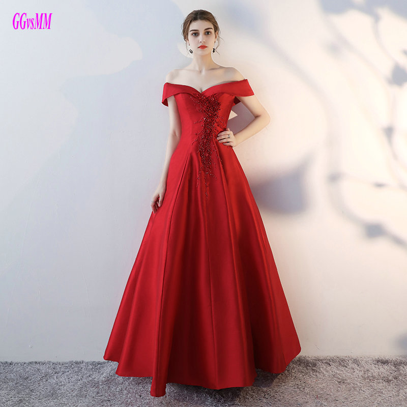 Fashion Crimson Evening Dresses 2019 Sexy Formal Prom Dress Long Sweetheart Satin Pearls Lace Up Ball