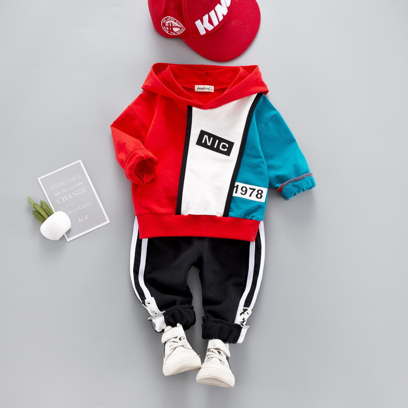 0-4 year High quality boy girl clothing set 19 new fashion active patchwor kid suit children baby clothing Hoodies+pant 3