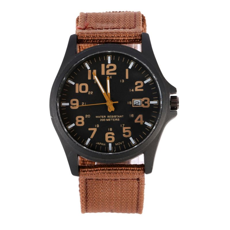 3 kleuren Solider Military Army Watch Heren Sport Style Canvas riem - Herenhorloges - Foto 1