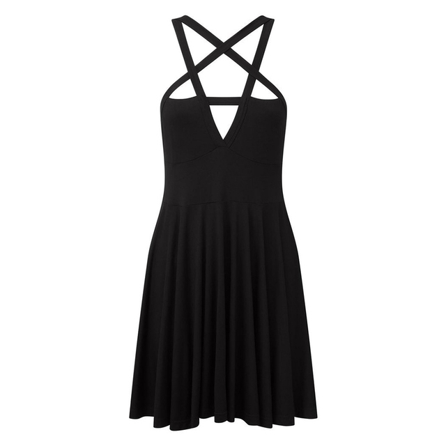 new Sexy Women Five-pointed Star Weave V Neck Sleeveless Backless Gothic Mini Dress 5