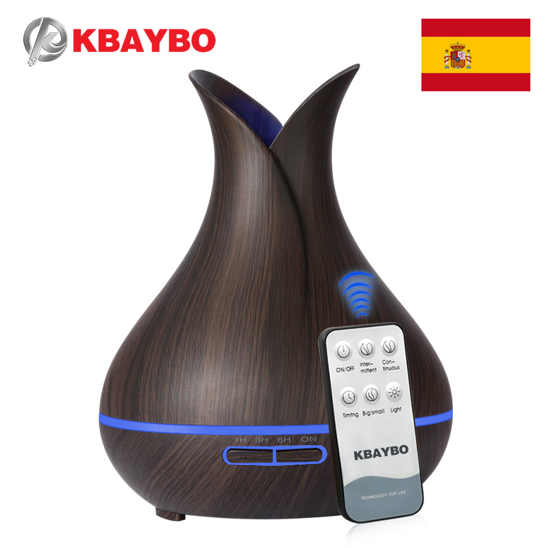400ML Remote Control Ultrasonic Wood Grain Humidifier Aromaterapi Aroma Essential Oil Diffuser for Home Bebe