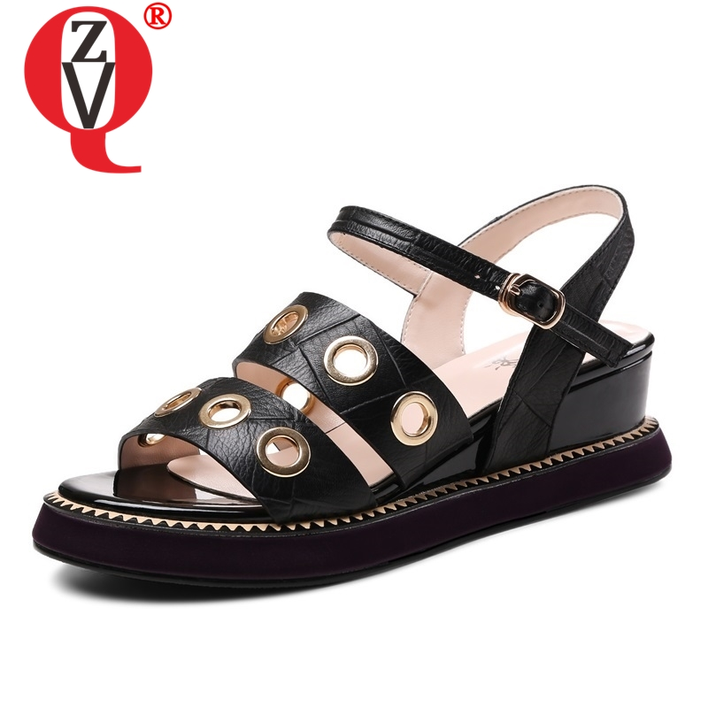 ZVQ shoes woman 2019 summer new concise solid open toe med wedges platform buckle woman sandals