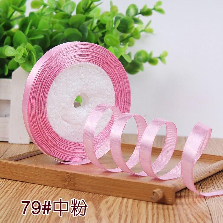 10 мм, 25 ярдов, односторонняя шелковая сатиновая лента, дешевая декоративная подарочная упаковка, Свадебные Рождественские ремесла, белые, розовые, красные, черные ленты - Цвет: Medium Pink