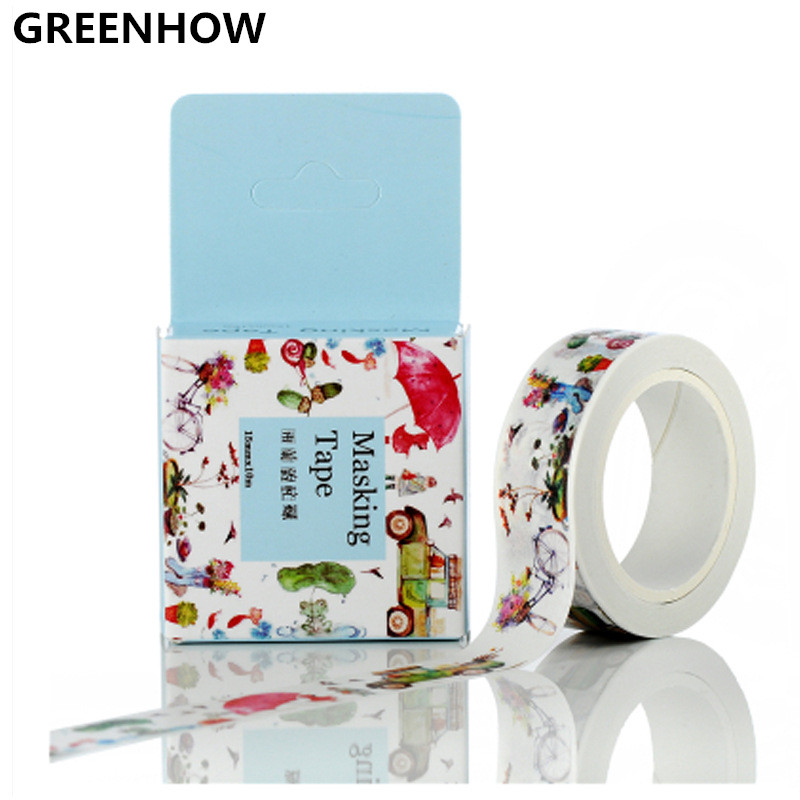 GREENHOW Cute Cartoon Childlike Truck Road Traffic Washi Paper Masking Tape for Scrapbooking Giftwrapping DIY Sticker 3051