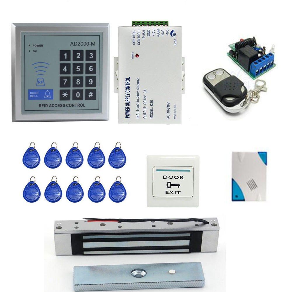 Door Access Control System Kit Set A Complete set of RFID With Lock RFID Keypad+Power+Magnetic Lock+Door Exit+Keys Free Shipping