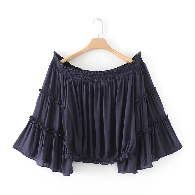 2018 Women Sexy off shoulder Shirt solid Fashion flare Sleeve Blouse Sexy crop tops shirt Female Chic blusas Tops B