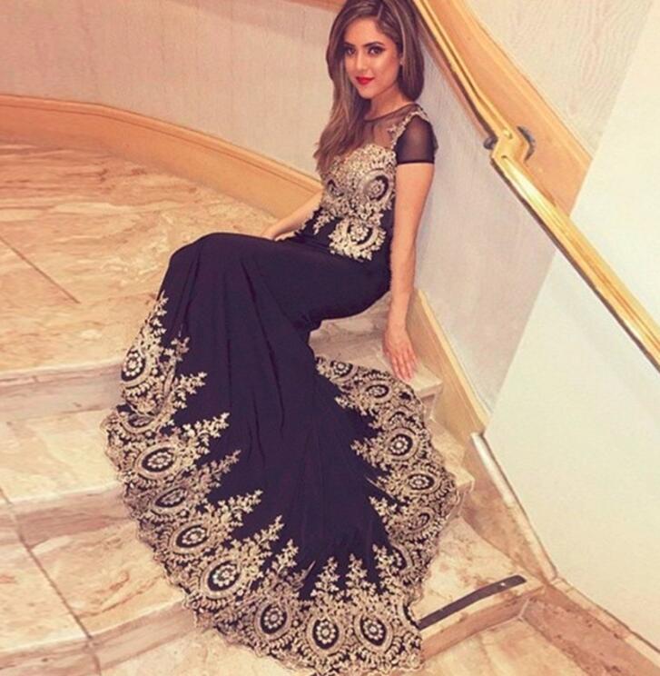 Nouveauté 2018 robe de soirée sirène noire robes de bal manches courtes Sexy robes de soirée robe de soirée longue dame robe M2232