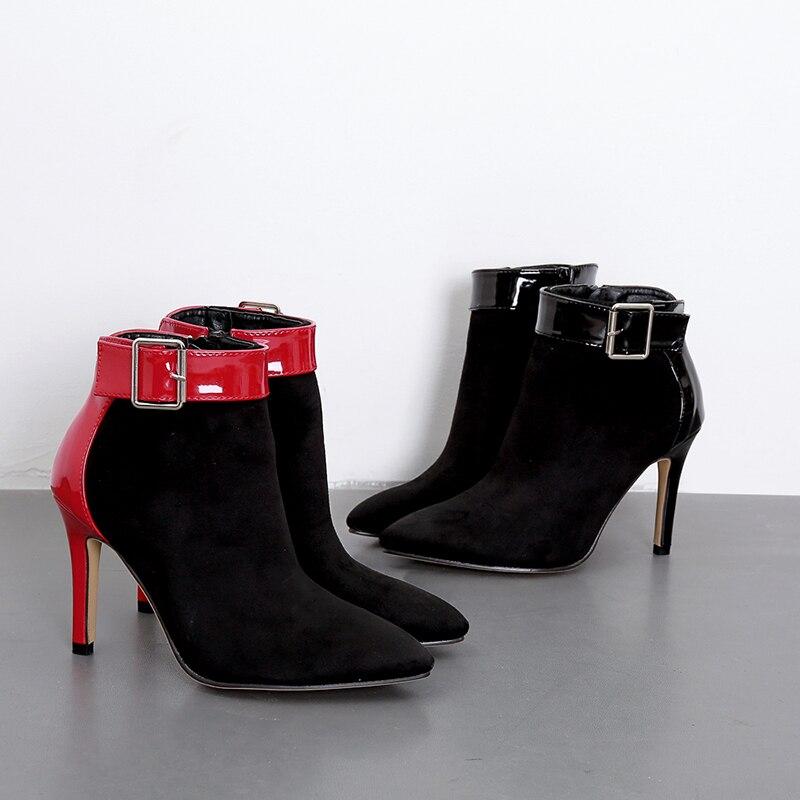 Haute Mariage Automne Hiver Bouton Cheville Pompes Chaussures Talons Mince Femmes Jinjoe rouge Féminins Partie Talon Noir De Bootie Bottes tHqYwPxA