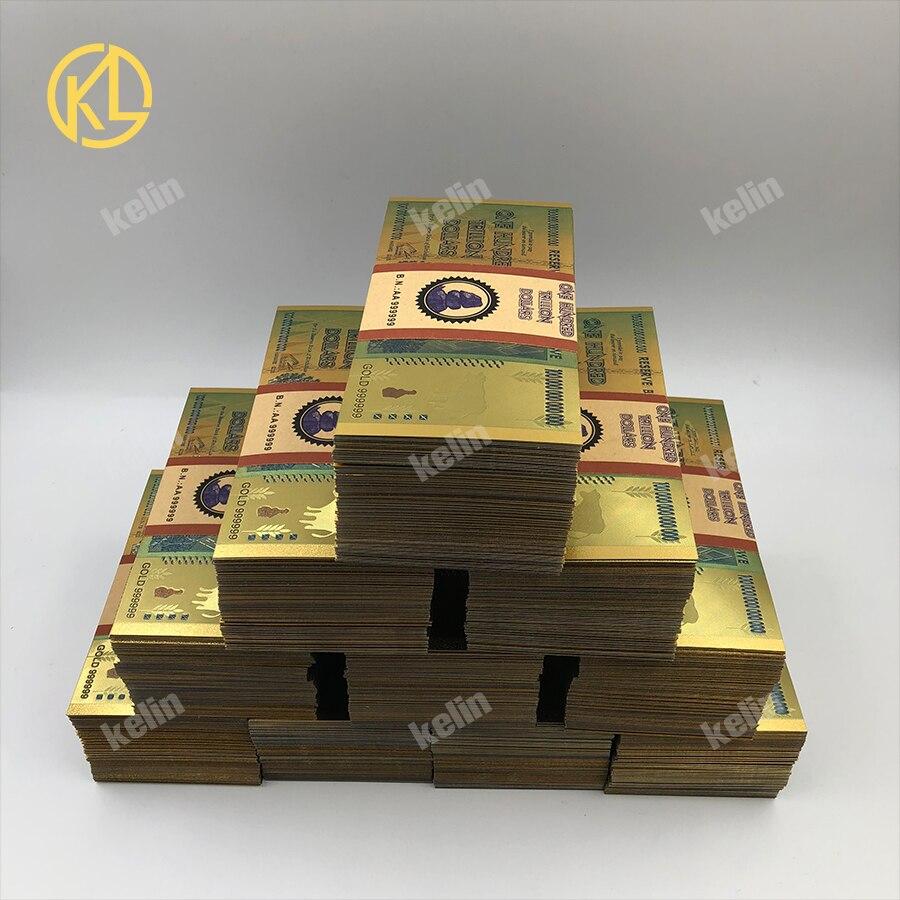 1000pcs Zimbabwe Un Centinaio di Trilioni di o quintillion Dollari Banconota Oro Con ORO 999999 e filigrane da fedex tnt o UPS-in Banconote d'oro da Casa e giardino su AliExpress - 11.11_Doppio 11Giorno dei single 1