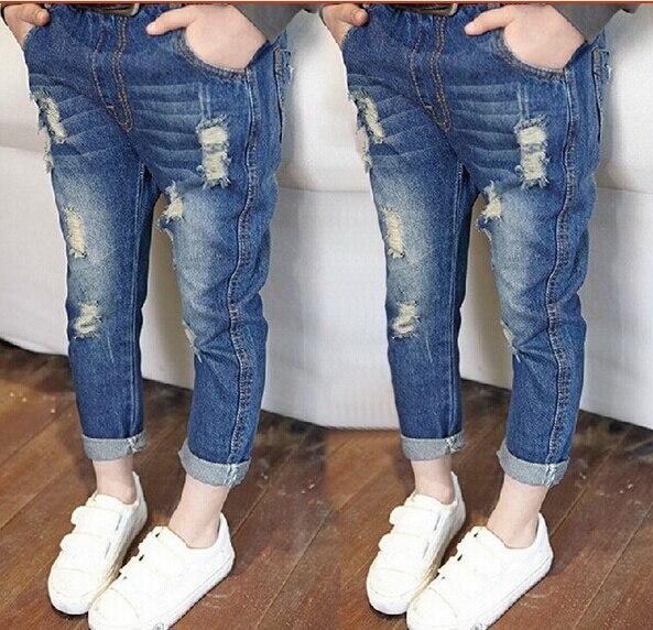 efe2855e2 NEW 2016 spring autumn children pants kids fashion designer jeans boys  girls denim pants Casual hole jeans feet pants
