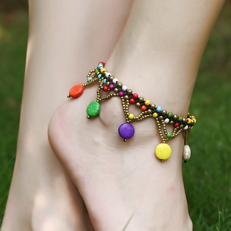 Ethnic Boho Colorful Charm Beads Ankle Chain Anklets For Women Bohemian Female Dance Party Beach Foot Jewelry bracelet cheville