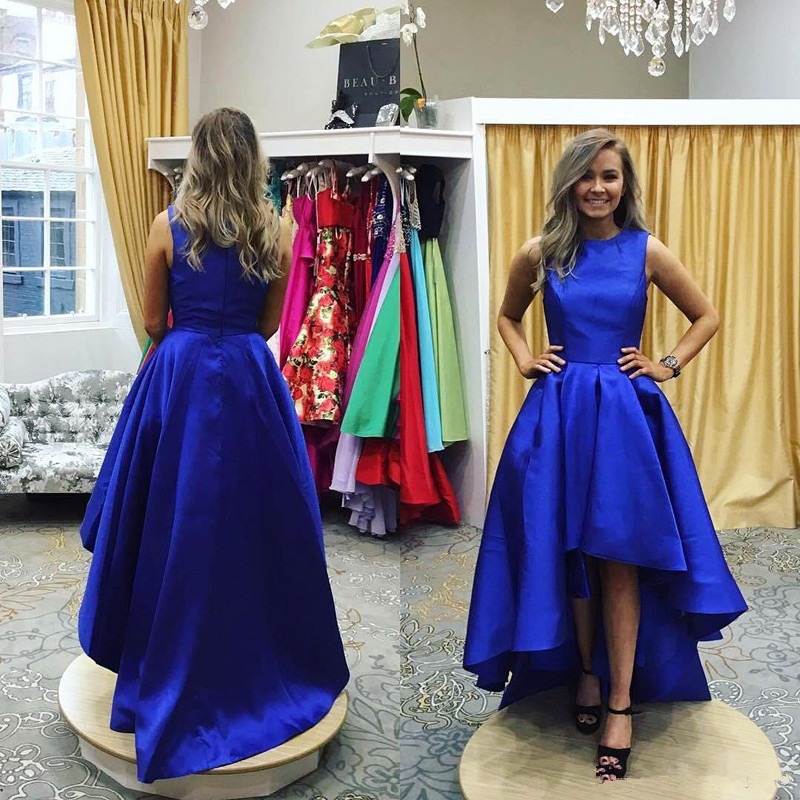 2017 Simple Royal Blue High Low Prom Dresses O Neck Satin Vestidos ...